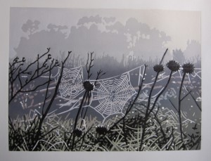 Spiderwebs in the mist